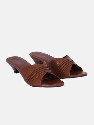Brown Faux Leather Sandals
