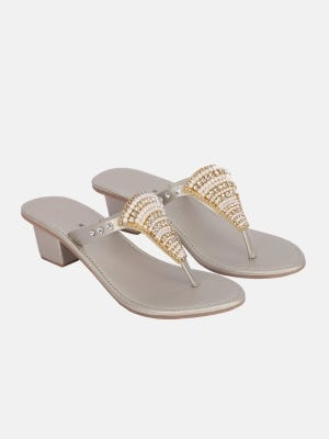 Off White Heel Faux Leather Sandals