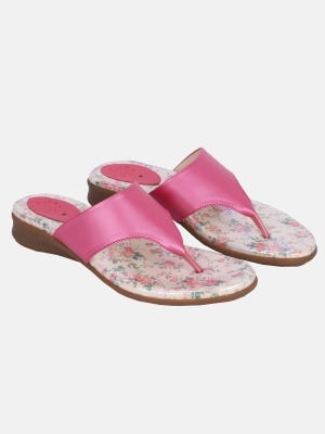 Pink Faux Leather Sandals