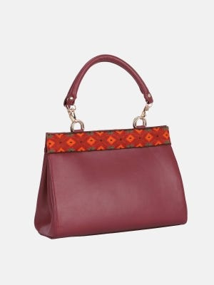 Brick Red Embroidered Leather Bag