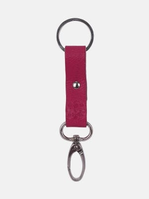 Red Embossed Leather Key Ring
