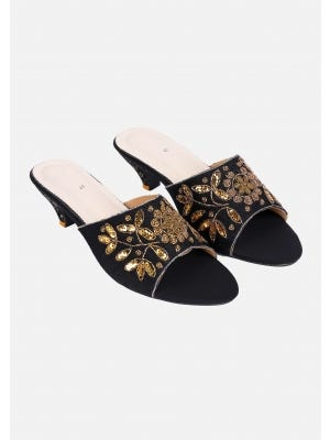 Black Embroidered Faux Leather Heel Sandals