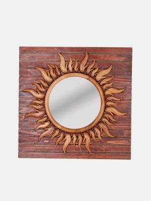 Red Wood Framed Mirror
