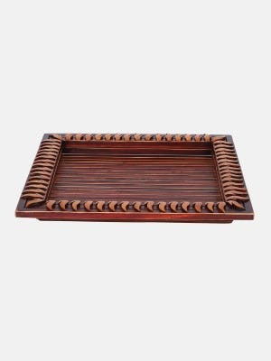 Red Carved Wooden Tray