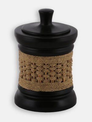 Deep Brown Wooden and Coconut Fibre Container
