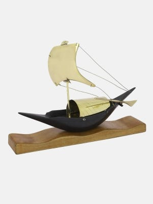 Oxidized Brass Sailboat on Wooden Frame