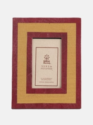 Mustard Yellow and Maroon Leather and Jute Photo Frame