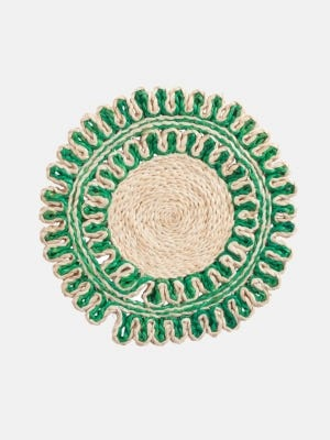 Ecru and Green Round Jute Placemat
