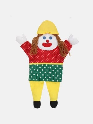 Red Printed Jute-Cotton Doll