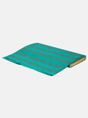 Teal Printed Voile Fabric Piece