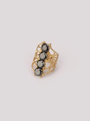 Simulated Stone Stubbed Brass Finger Ring