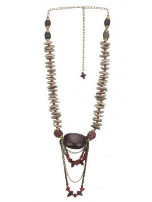 Wooden and Natural Seed Beads Necklace