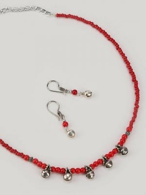 Red Beads Necklace Set