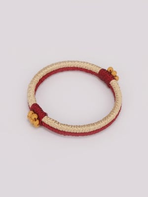 Beige and Red Thread Bangle