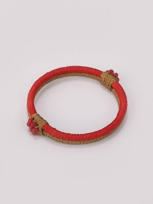 Red and Light Brown Thread Bangle