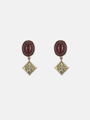 Brass and Simulated Stone Earrings