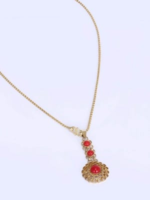 Simulated Stone Studded Brass Necklace