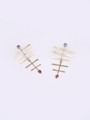 Simulated Stone Studded Brass Earrings