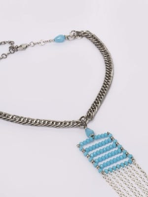 Simulated Stone Studded Metal Necklace