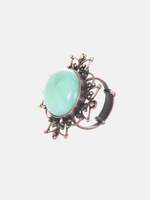 Simulated Stone Studded Oxidized Brass Ring
