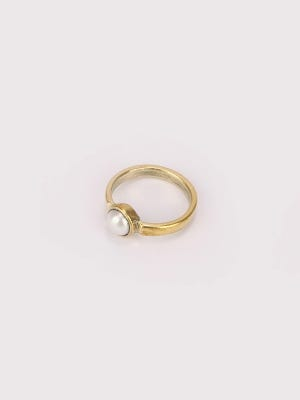 Simulated Pearl Studded Brass Finger Ring
