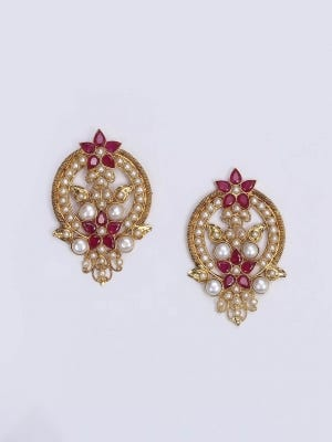 Stone Studded Gold Plated Silver Earrings