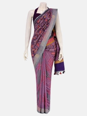 Lavender Dyed and Appliqued Silk HERSTORY Saree