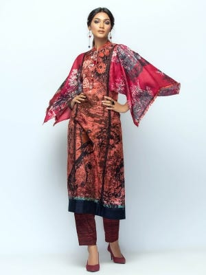 Coral Red Printed and Embroidered HERSTORY Shalwar Kameez