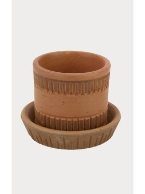 Clay Plant Pot with Plate