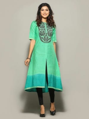 Light Green Tie-Dyed and Embroidered Silk-Cotton Kurta