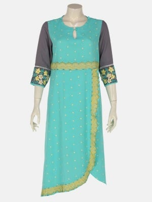 Turquoise Printed and Embroidered Linen Kurta