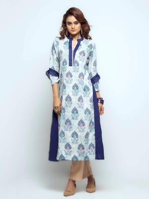 Off White Printed and Embroidered Viscose Kurta