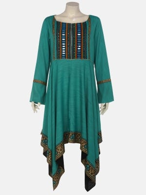 Light Teal Printed and Embroidered Mixed Cotton Kurta