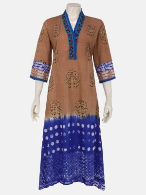 Brown Wax Dyed and Embroidered Linen Kurta