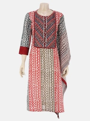 White Printed and Embroidered Voile Kurta