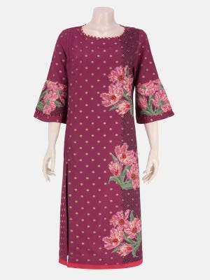Onion Pink Printed and Embroidered Cashmilon Cotton Kurta