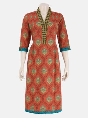 Rust Printed and Embroidered Cotton Kurta