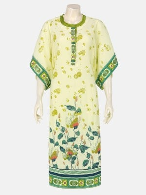 Pastel Yellow Printed and Embroidered Cotton Kurta