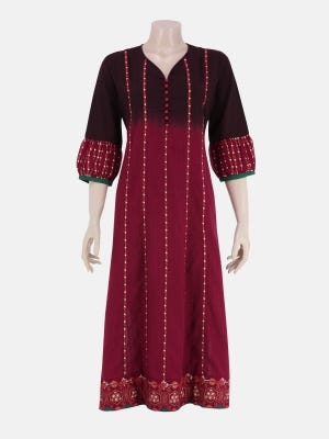Maroon Printed and Ombre Dyed Cotton Kurta