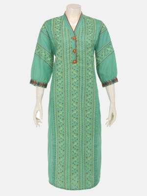 Green Printed and Embroidered Cotton Kurta