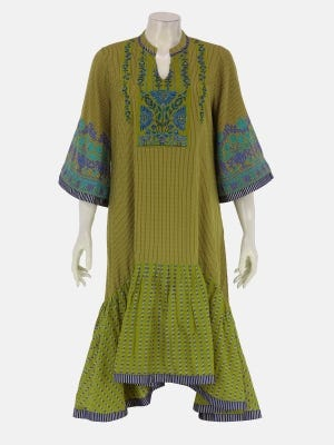 Olive Printed and Embroidered Cotton Kurta