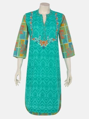 Turquoise Printed and Embroidered Cotton Kurta