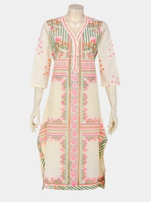 Ivory Printed and Embroidered Cotton Kurta