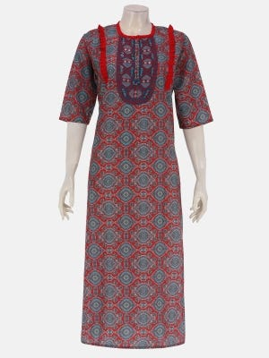 Red Printed and Embroidered Mixed Silk Kurta
