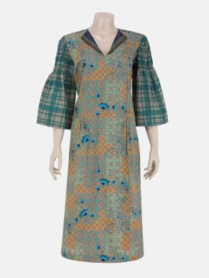 Sage Green Printed and Erri Embroidered Cotton Kurta