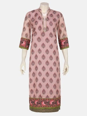Dusty Pink Printed and Embroidered Net Fabric Kurta