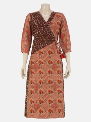 Light Brown Wax Dyed and Embroidered Viscose-Cotton Kurta