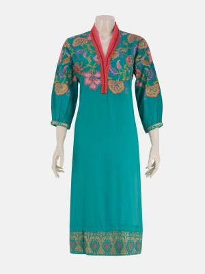 Teal Printed and Embroidered Linen-Viscose Kurta