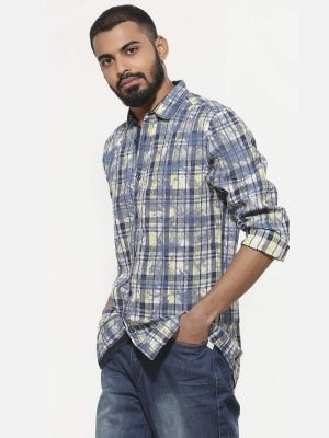 White Printed Casual Fusion Cotton Slim Fit Shirt