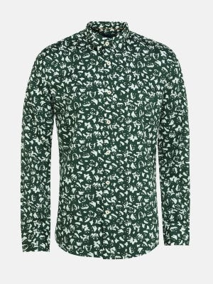 Bottle Green Printed Slim Fit Cotton Casual Modern Shirt